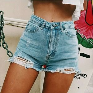 Distressed Ripped High Waisted Jean Cutoff Shorts